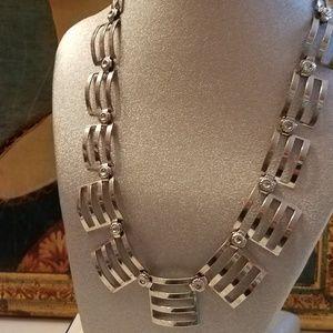 Vintage Silver Tone Linked Metal Necklace